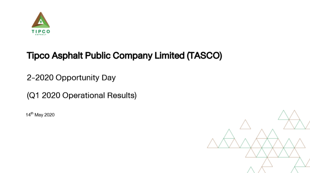 💎 4 เรื่องน่ารู้ หุ้น TASCO 💎 สรุป Oppday Q1'20
